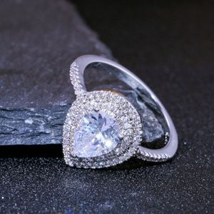 Silver Pear Shaped CZ Engagement Promise Ring